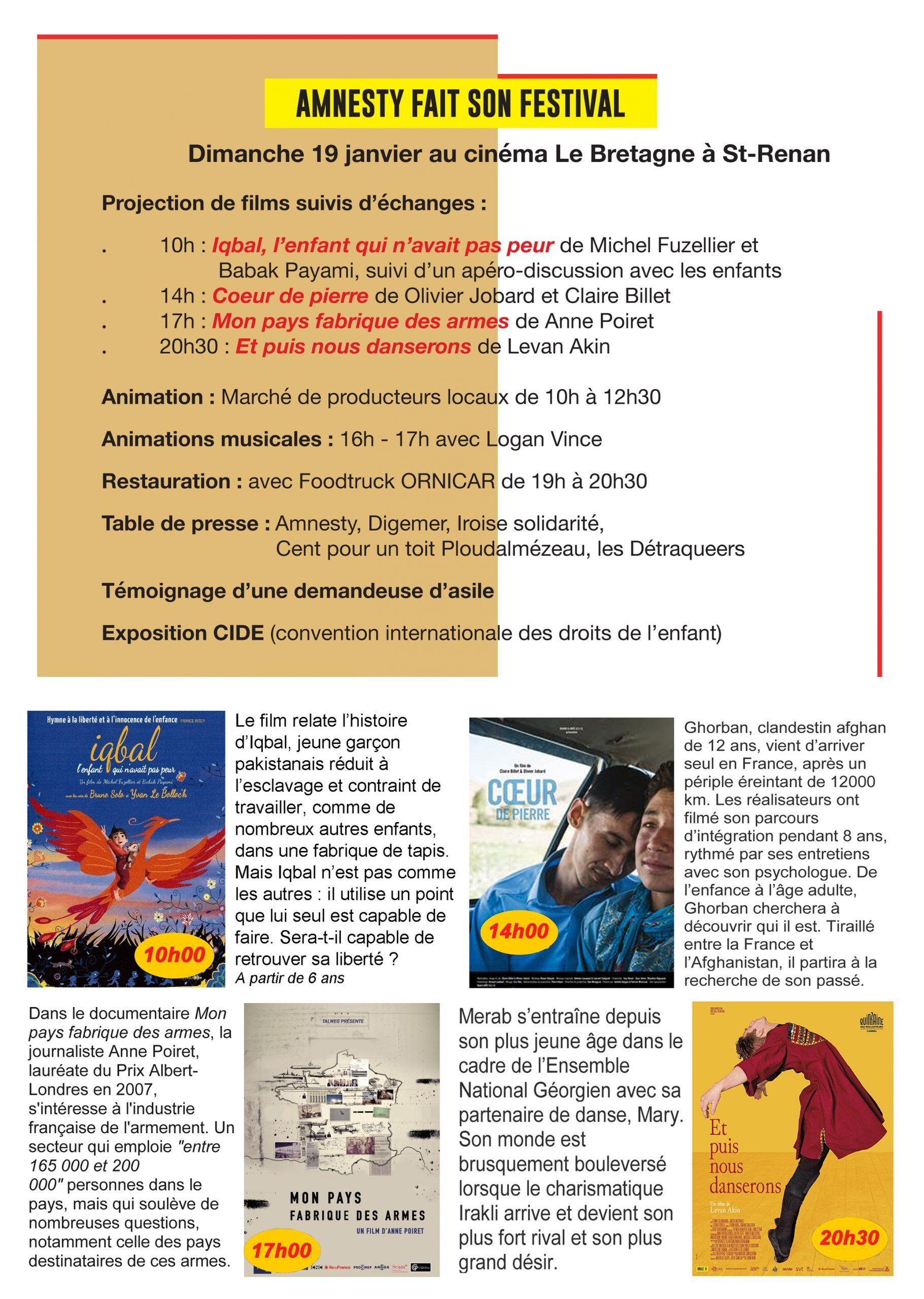 Amnesty fait son festival, Cinéma Le Bretagne à St-Renan